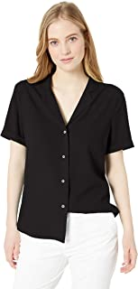 28 Palms Women's Loose-Fit 100% Silk Solid Blouse Shirt