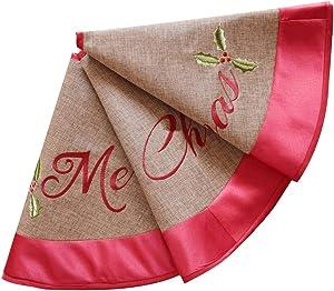 XQKXHZ Robe De Sapin De Noël, Broderie De Lin avec Bord Rouge Tapis De Couverture pour Sapin De Noël, pour Centre Commercial,90cm