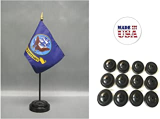 Made in USA Box of 12 United States Military Service Miniature Desk & Table Flags Includes 12 Flag Stands & 12 American Made Small Mini Military Stick Flags (4