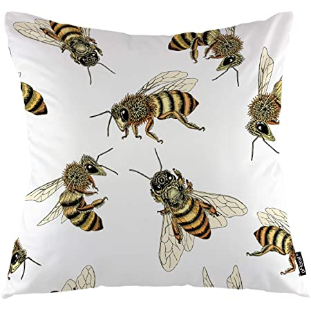 Amazon Com Hgod Designs Bees Pillow Case Decorative Throw Pillow Cover Honey Bee Pillow Cases Cotton Linen Outdoor Indoor Square Cushion Covers For Home Sofa Couch 18x18 Inch Yellow Home Kitchen