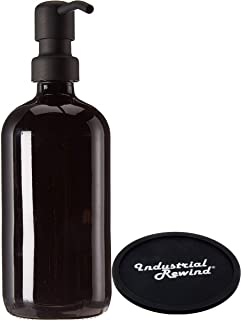 Industrial Rewind Black Glass Soap Dispenser with Metal Pump and Coaster for Non Slip Bottom - 16oz Glass Jar for Liquid Soap, Lotion or Shampoo (Black Pump)