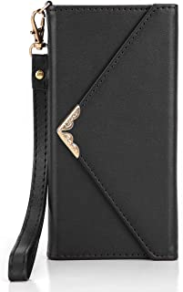 Crosspace iPhone X Case, iPhone Xs Wallet Case, Envelope Flip Handbag Shell Women Wallet PU Leather Slim Holster Magnetic Folio Cover with Card Holder Wrist Strap for iPhone Xs 5.8