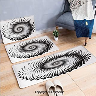 3 Piece Non Slip Flannel Door Mat Black Dots Forming a Spiral Shape Monochrome Circle Twist Optical Art Elements Decorative Indoor Carpet for bath Kitchen(W15.7xL23.6 by W19.6xL31.5 by W19.6xL59)