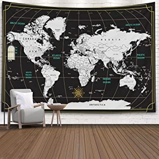 Tapestry World Map,Capsceoll Map Hanging Wall Hanging Decorations Outdoor Wall Hanging Wall Art for Living Room World Map ...