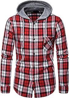 Jacket Men Long Sleeve Slim Fit Classics Hooded Checked Flannel Shirt Lumberjack Shirt Sweat Jacket with Hood Sweatshirt B...