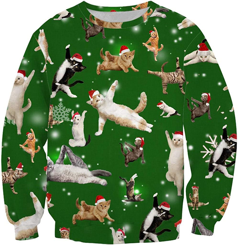 Holzkary Men's Christmas Pullover Sweatshirts 3D Digital Printed Graphic Long Sleeve Shirts