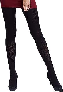 Gatta Nicole 07 80den elegant gemusterte dezent schimmernd glänzende schwarze Strumpfhose mit Rauten Karo Design