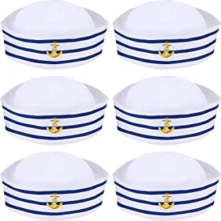 Blue with White Sail Hats Navy Sailor Hat for Costume Accessory, Dressing up Party (6 Packs)