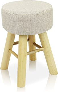 DL furniture - Round Ottoman Foot Stool, 4 long Leg Stands Round ShapeRound Shape | Linen Fabric, Beige Cover