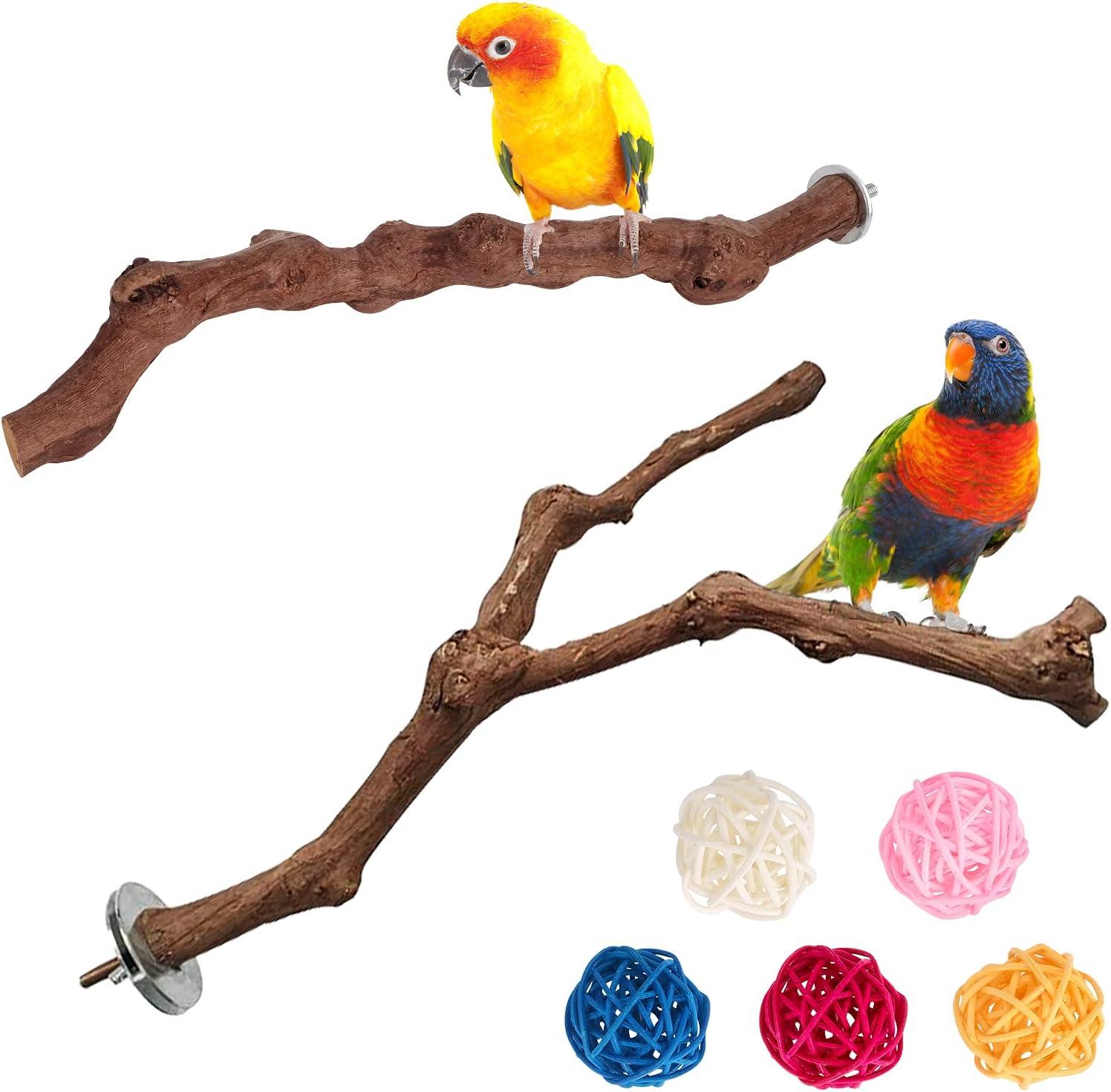 DEHUA Juego de 2 perchas de madera natural con diseño de pájaros, soporte para pájaros, varas de uvas naturales, set para pájaros, accesorios para jaula de pájaros