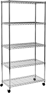 """Seville Classics 5-Tier Steel Wire Shelving with Wheels, 30"""" W x 14"""" D x 60"""" H, Chrome"""