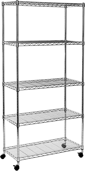 Seville Classics 5 Tier Steel Wire Shelving With Wheels 30 W X 14 D X 60 H Chrome