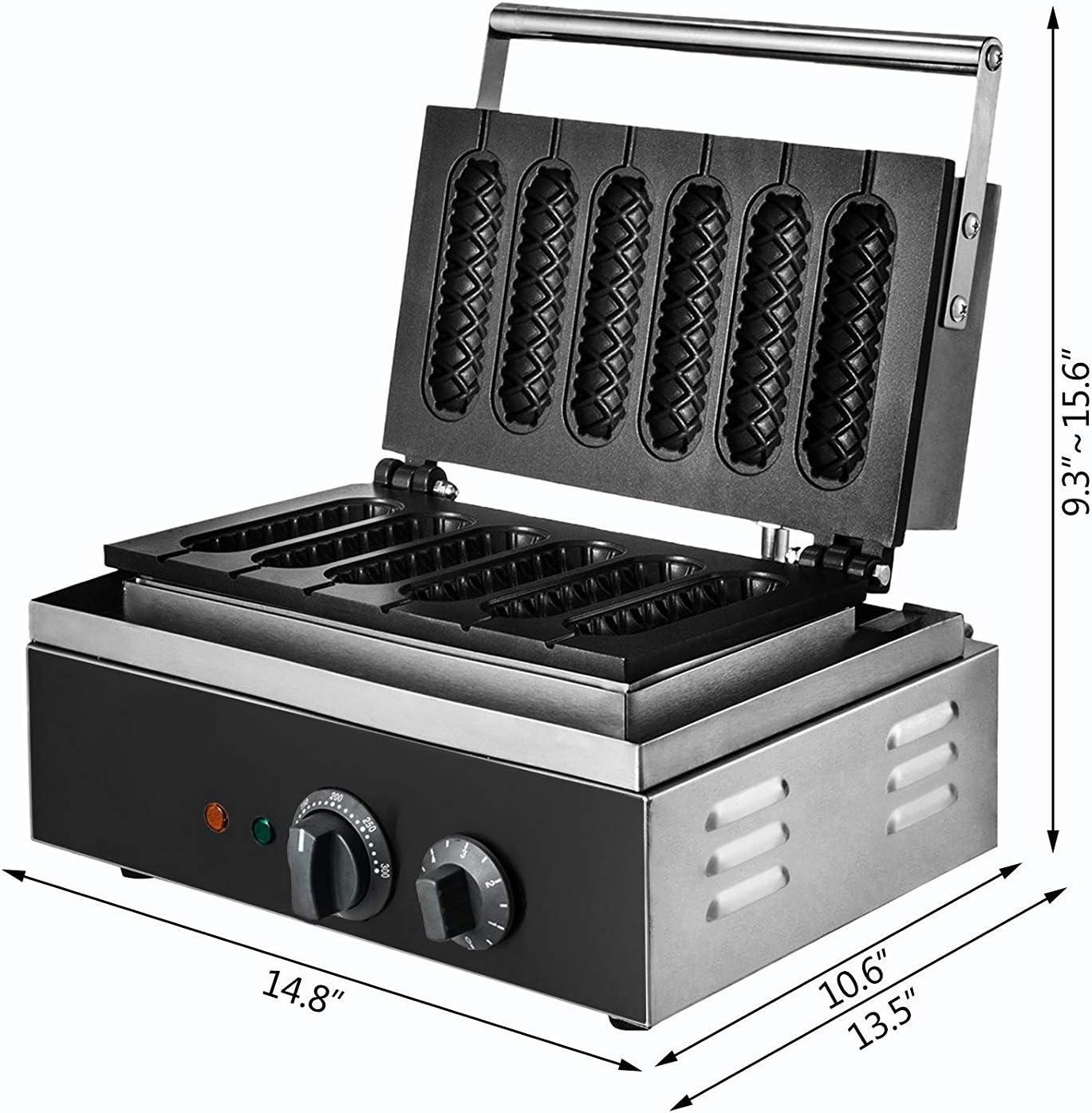 Buoqua SC-118 Wafelijzer, 1500 W, 6 stuks, lolly wafelijzer voor wafels maken en sausage zaden (SC-118) Sc-118.
