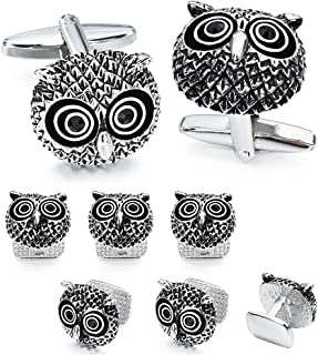 Owl and Spider Cufflinks Studs Set for Men