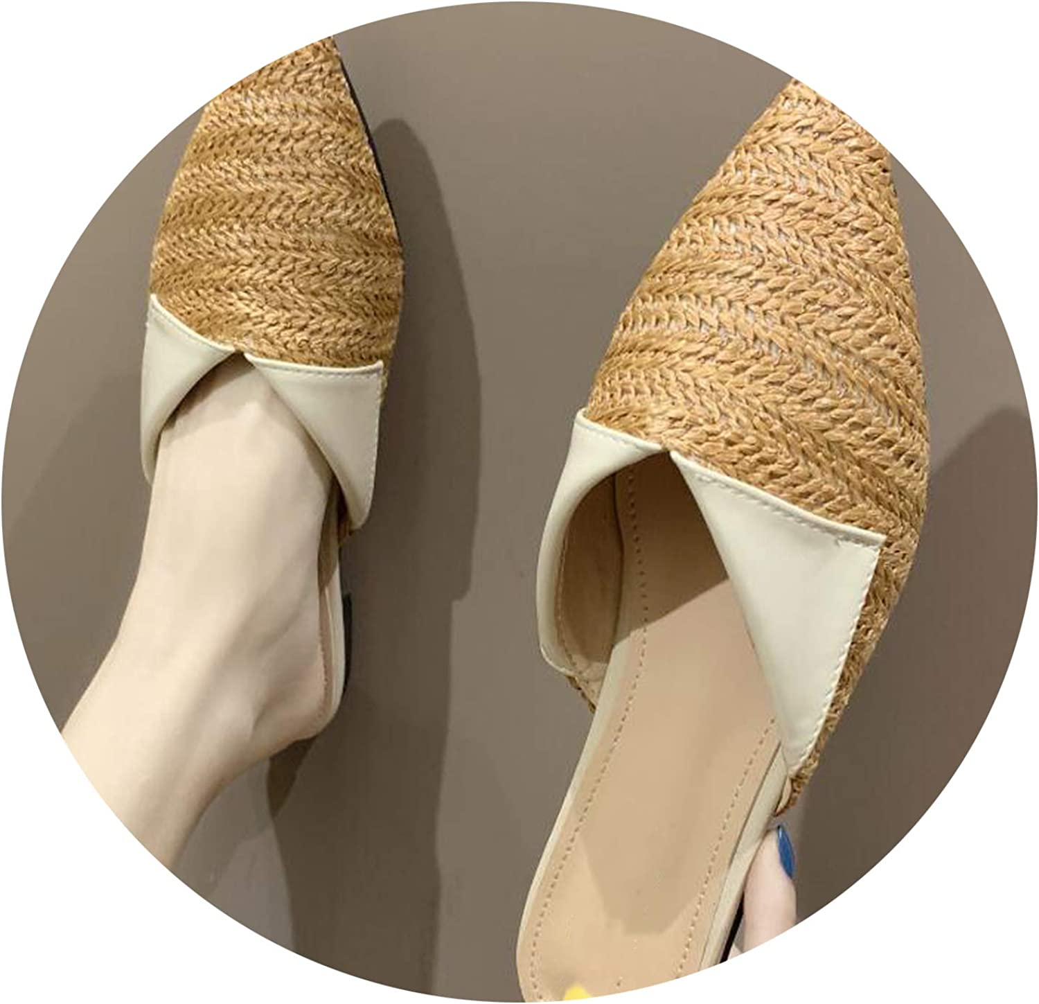 Sensitives 2019 Women Slippers Fashion Pointed Toe Weave Mules shoes Flat Slides Summer Beach shoes g205