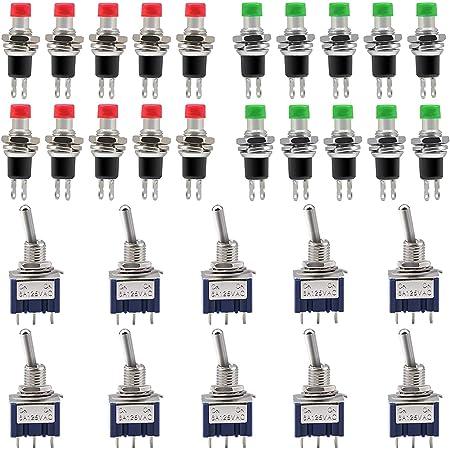 Qlouni Spst Mini Druckknopfschalter Set 8 Tlg 7mm Mini Momentane Schalter Pbs 110 Mini Momentane Druckschalter 1 A 250 V Wechselstrom Federnd Mit Zwei Stiften Gewerbe Industrie Wissenschaft