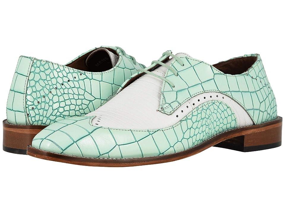 Mens Vintage Style Shoes & Boots| Retro Classic Shoes Stacy Adams Trazino Light AquaWhite Mens Shoes $89.95 AT vintagedancer.com