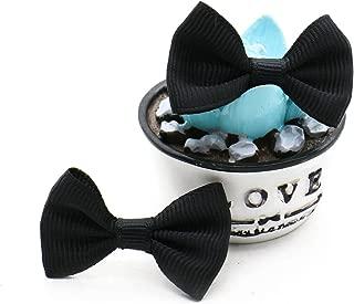 Rugjut 30pc DIY Satin Ribbon Mini Bow Tie Bows Ribbon Bows Mini Mixed Embellishment Craft Artificial Applique Wedding (Black)