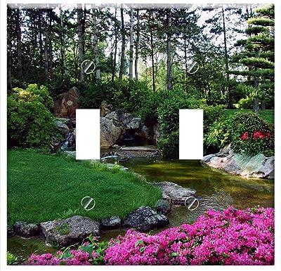Portland Koi Pond 3dRose lsp/_93676/_2 Usa Japanese Garden Us38 Bja0661 Jaynes Gallery Light Switch Cover Oregon