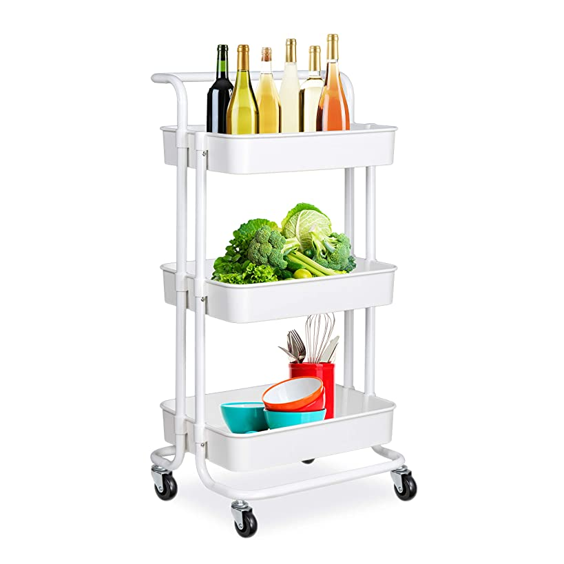 alvorog 3-Tier Rolling Utility Cart Heavy Duty Storage Organizer Multifunction Mesh Basket Standing Shelf with Handles and Wheels for Bathroom, Kitchen, Office, Library, Salon & Spa (White)