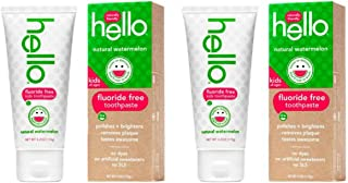 Hello Oral Care Kids Fluoride Free Toothpaste, Natural Watermelon, 4.2 Ounce 2 Pack