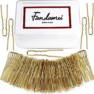 U Shaped Hair Pins, FANDAMEI 120 Pack Women and Girls Bun Hair Pins with Storage Box, Golden (5 cm/1.96 Inches)