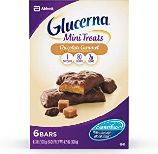Glucerna Mini Treat Bars, To Help Manage Blood Sugar, Chocolate Caramel, 0.70 Ounce Bar, 36 Count (Packaging May Vary)