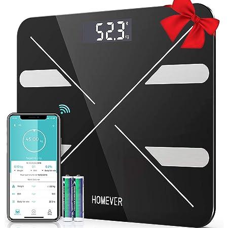 Bilance Pesapersona Digitali, Homever Bilancia Pesa Persona Digitale, Inteligente BMI, Analizzatore di Composizione Corporea con APP, 400lb, 2 batterie AAA incluse