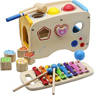 FORUP Wooden Shape Sorter Bus with Slide Out Xylophone, Wooden Musical Pounding Toy, Baby Color Recognition and Geometry L...