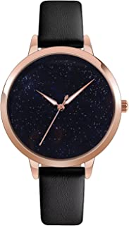 Watch Womens Quartz Waterproof Lady Watch Wrist Watch Creative Starlight Dial Birthday Gift with Genuine Leather Band