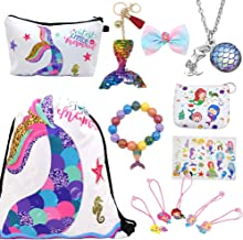 RLGPBON 17PCS Mermaid Gifts for Girls Drawstring Backpack,Makeup Bag,Mermaid Jewerly Necklace Bracelet,Hair Ties
