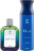 Ajmal Bastion EDP Woody Aromatic Perfume 100ml for Men and Blu Homme Deodorant Aquatic Woody Fragrance 200ml for Men+ 2 Pa...