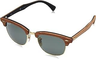 RB3016M Clubmaster Wood Square Sunglasses, Walnut Black Rubber/Polarized Green, 51 mm