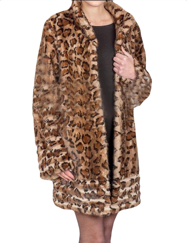 ZimaesWomen Leopard Thickened Faux Fur Fluffy MidLong Warm Coat