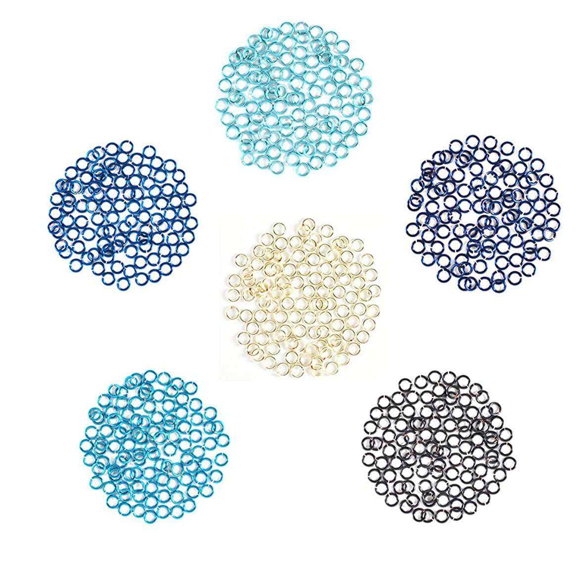 Ice and Moon - Enameled Copper Jump Rings – 20 Gauge – 5.5mm ID - 600 Rings - Baby Blue, Blue, Blue Steel, Pacific Blue, Peacock Blue, Silver