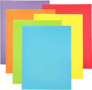 Youngever 6 Pack Plastic Pocket Folders - Heavy Duty Plastic 2 Pocket Folder, in 6 Colors