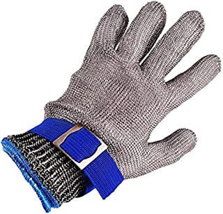 ZLLJH Cut Resistant Gloves, 316L Brushed Stainless Steel Wire Mesh Butcher Safety Work Gloves, Level 5 Cut Protection Food Grade Metal Chain Gloves for Cutting Meat, Shucking Oysters