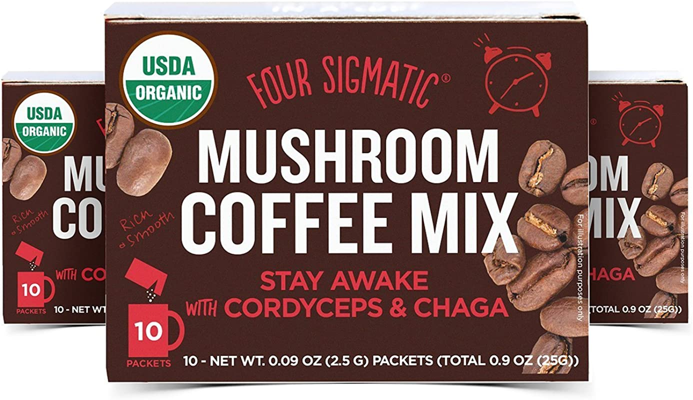 Four Sigmatic Mushroom Coffee Mix Cordyceps And Chaga Pack Of 3 30 Packets Total