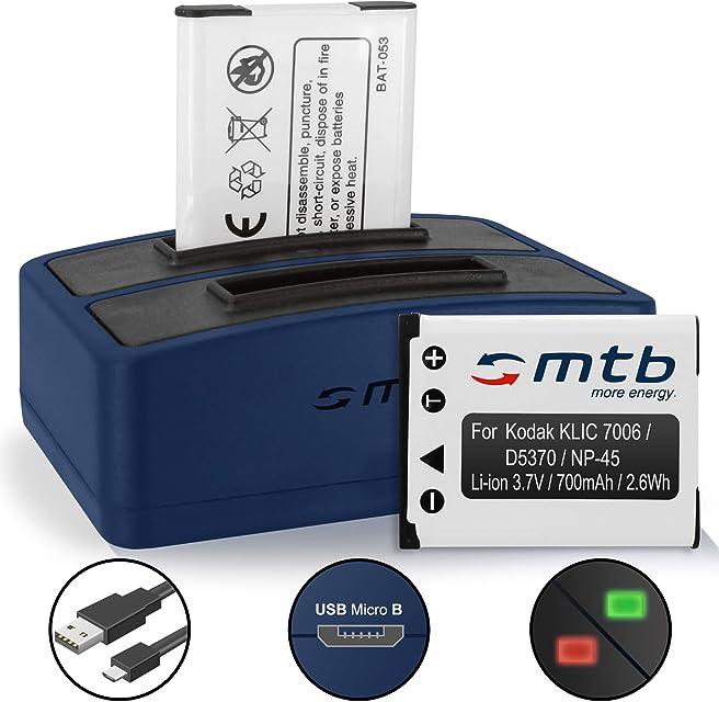 2 Baterías + Cargador Doble (USB) para Kodak KLIC-7006 / Easyshare M125 M215 M522 M530.s/PIXPRO FZ51 FZ52 SL5 - v. Lista