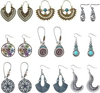 Bohemian Vintage Earrings, Retro Rhinestone Boho Statement Earrings National Style Hollow Water Drop Heart Shaped Dangle Earrings for Women Girls(9 Pairs)