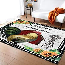 Non-Slip Area Rugs Room Mat- Farm Style American Country Rooster with Sunflower Home Decor Floor Carpet for High Traffic A...