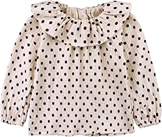 AYIYO Dot Printed Doll Long Sleeves Cotton Linen Blend Blouse Shirt for 1-5 Years Old Baby Girls