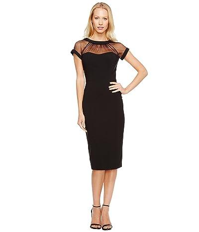 Maggy London Illusion Top Crepe Dress (Black) Women