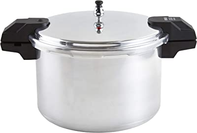 IMUSA USA 16Qt Jumbo Stovetop Pressure Cooker with Regulator and Side Handles, 16 Quart, Silver