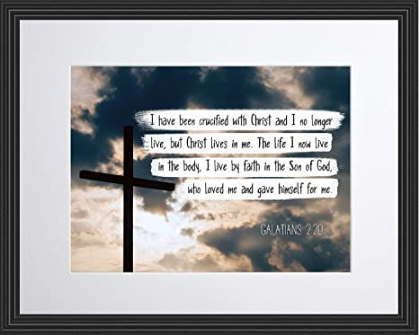 Wesellphotos Galatians 2 20 Christ Lives In Me Christian Poster Print Picture Or Framed Wall Art Decor Bible Verse Collection Religious Gift For Holidays Christmas Baptism 11x14 Framed Posters Prints