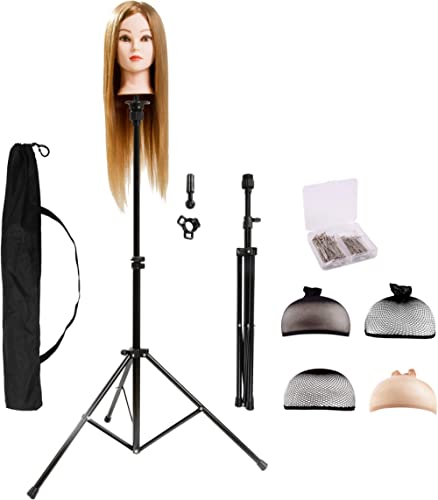 HYOUJIN Wig Stand Tripod Mannequin Head Stand Durable Wig Head Stand 360° Rotating Metal Adjustable for Professional ...