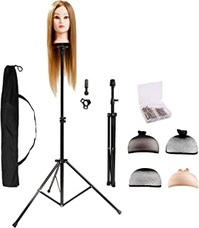 HYOUJIN Wig Stand Metal Adjustable Cosmetology Hairdressing Training Mannequin Head Tripod Stand for Hair Extensions Canva...