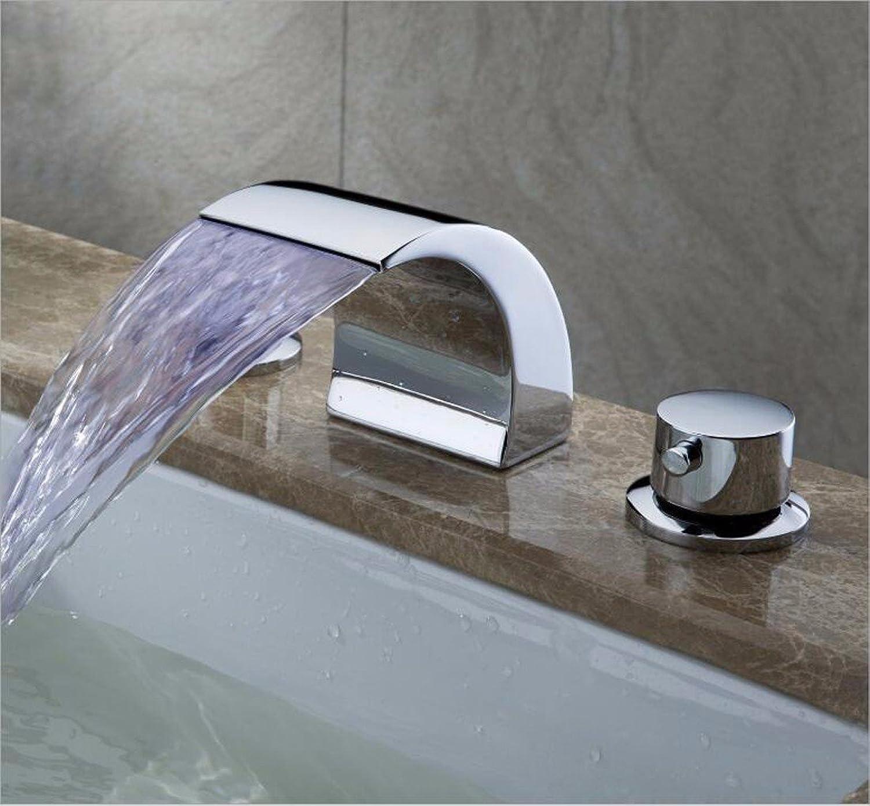 Lvsede Bad Wasserhahn Design Küchenarmatur Niederdruck Moderne Galvanik Dreiteilige Led-Farblicht Drei-Loch-Becken Wasserfall Kupfer L4632