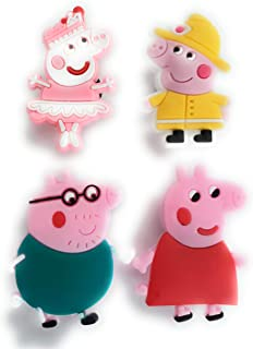Pig Family 4pcs Shoe Charm Decoration by Worked Like A Charm  for Bracelets and Shoes Party Favors Supply