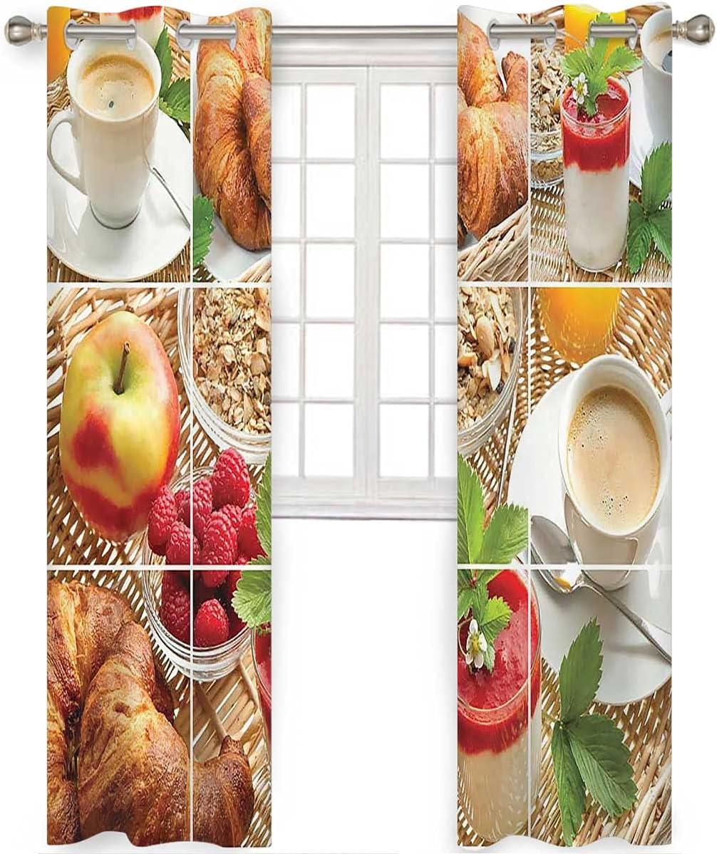 100% Blackout Curtains 96 Inch Yogurt Juice Kids LongCroissants Discount mail order OFFicial site